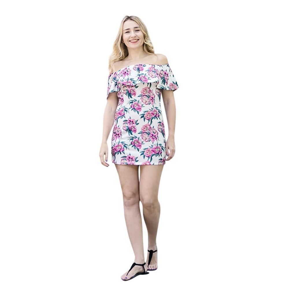 a783786ce453 New Arrival Summer Dress Fashion Mommy Me Women Floral Print Off Shoulder  Ruffles Slim Dress Family Clothes Vestidos De Festa Women S Dresses Knit  Dresses ...