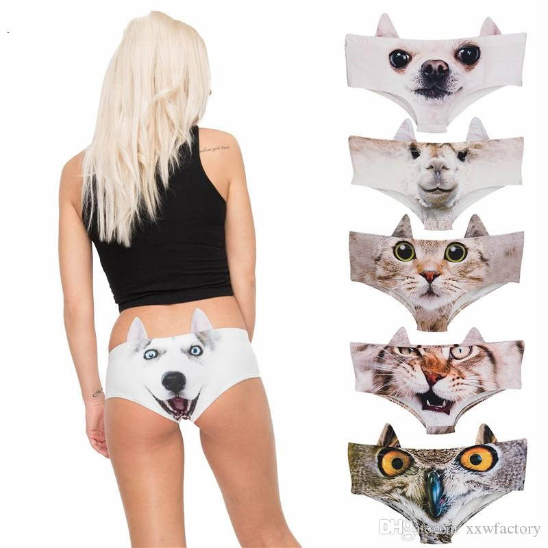 5299922c5 2019 Hot Sale Panties Women Cute Cartoon Sexy Underwear Cotton Funny Ears  3D Printed Dog Cat Tiger Anmial Underwear For Women From Xxwfactory