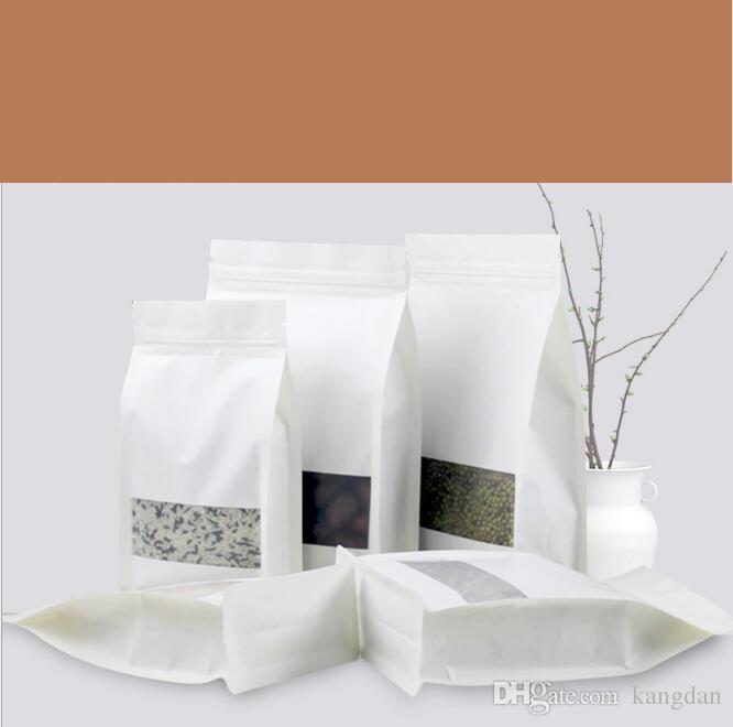 Beyaz Kraft kağıt ambalaj poşetleri açık pencere gıda torbaları ayağa Şeker atıştırmalıklar kurutulmuş meyve perakende çanta büyük kapasiteli moistureproof vana çanta