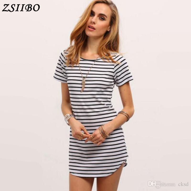 New Female Sundress Black White Striped O Neck Mini Dress Woman ...