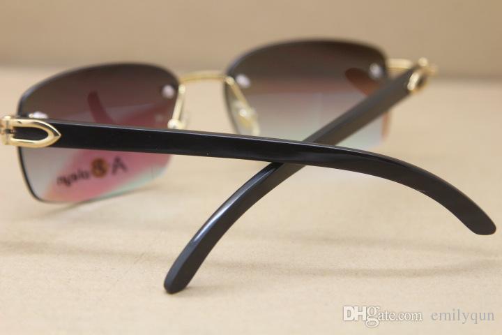 Luxury Buffalo Horn Glasses Men Women Black White Buffalo Horn Sunglasses Rimless Sunglasses Brand Designer Genuine Buffalo Horn Frame Glass