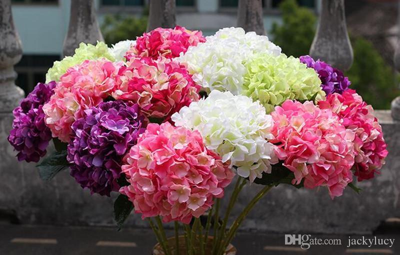 Style européen pastoral blanc fleur artificielle en soie tissu hortensia bouquet pour les décorations de fête de mariage 5 couleur nouvelle arrivée