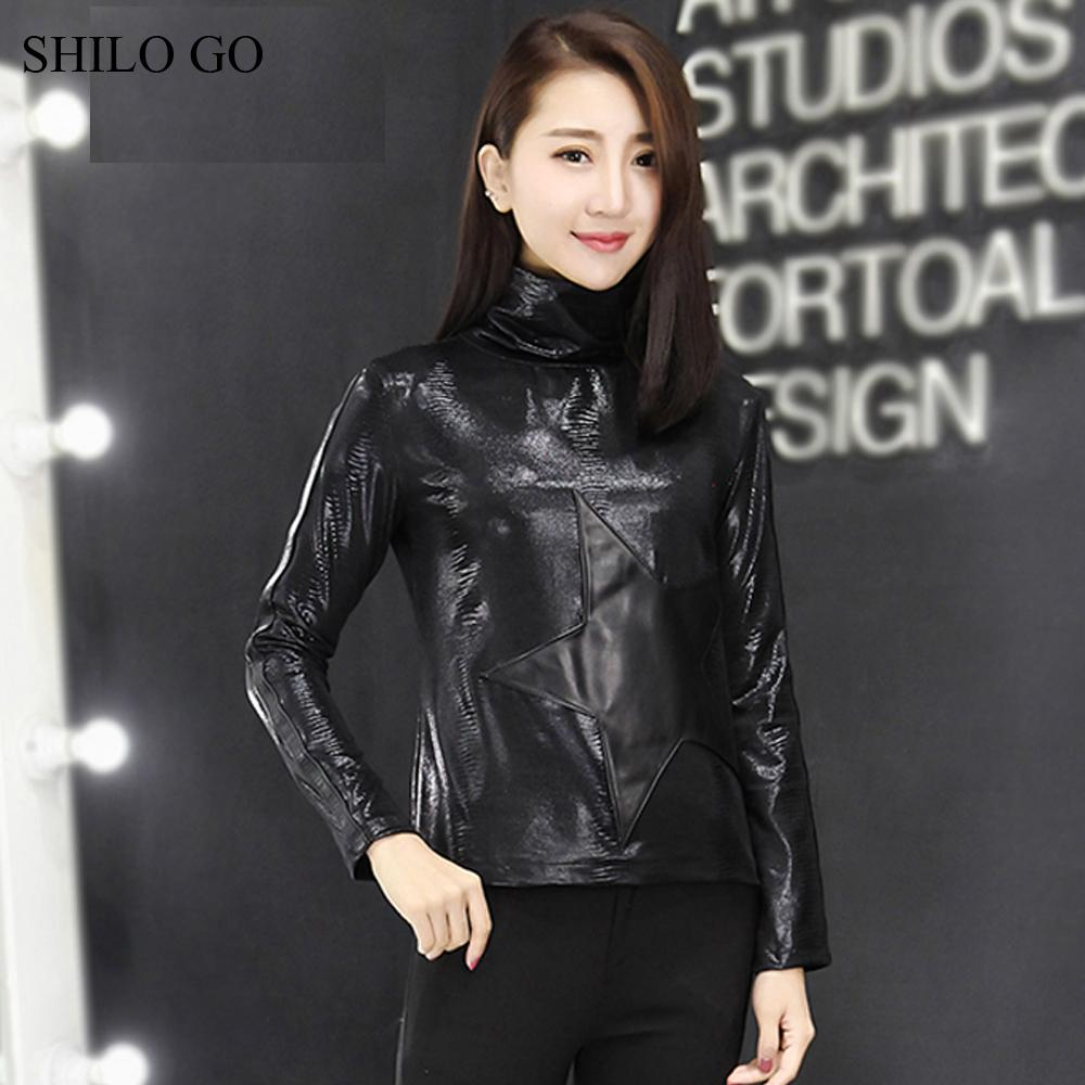 d8439e04b28d1 2019 SHILO GO Leather Blouse Womens Spring Fashion Sheepskin Genuine Leather  Blouse Turtleneck Collar Long Sleeve Slim Concise From Dalivid