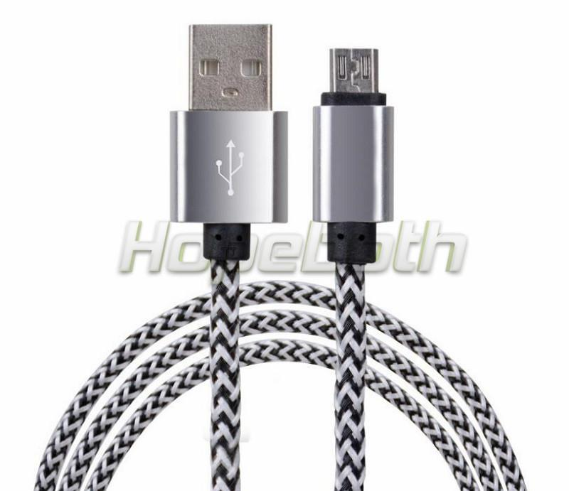 Hopeboth 1M 3FT 2A Aluminum alloy braided fabric Micro USB Data&Sync faster Charger Cable For Samsung Galaxy S7 edge S6