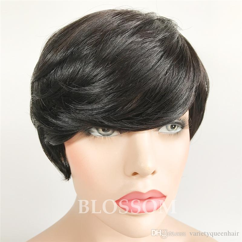 100% Human Hair Neat Bangs Short Cut Wigs Short Hair Pixie Cut Wigs for Women can be washed and curled