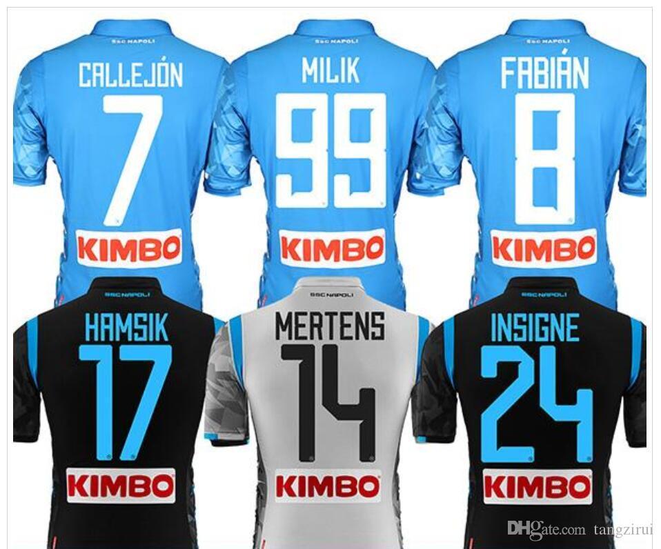 8df70f6ef2ba2 Camiseta De Fútbol 18 19 Napoli Hamsik Insigne Mertens Milik Jorginho  Callejon Maradona Zielinski Nápoles 18 19 Camiseta De Fútbol Por Tangzirui