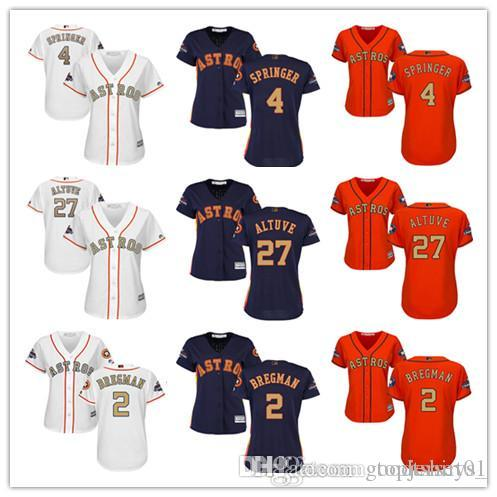 meet 26988 66ea1 Women Majestic Astros Jersey #2 Alex Bregman 4 George Springer 27 Jose  Altuve White 2018 Gold Program Ladies Girls Baseball Jerseys