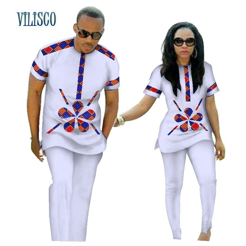 2019 Summer African Print Top And Pants Sets For Couple Clothing Bazin  Riche Sweet Flower Patter Lover Couples Clothes WYQ84 From Hongzhang d9fe57d387e1