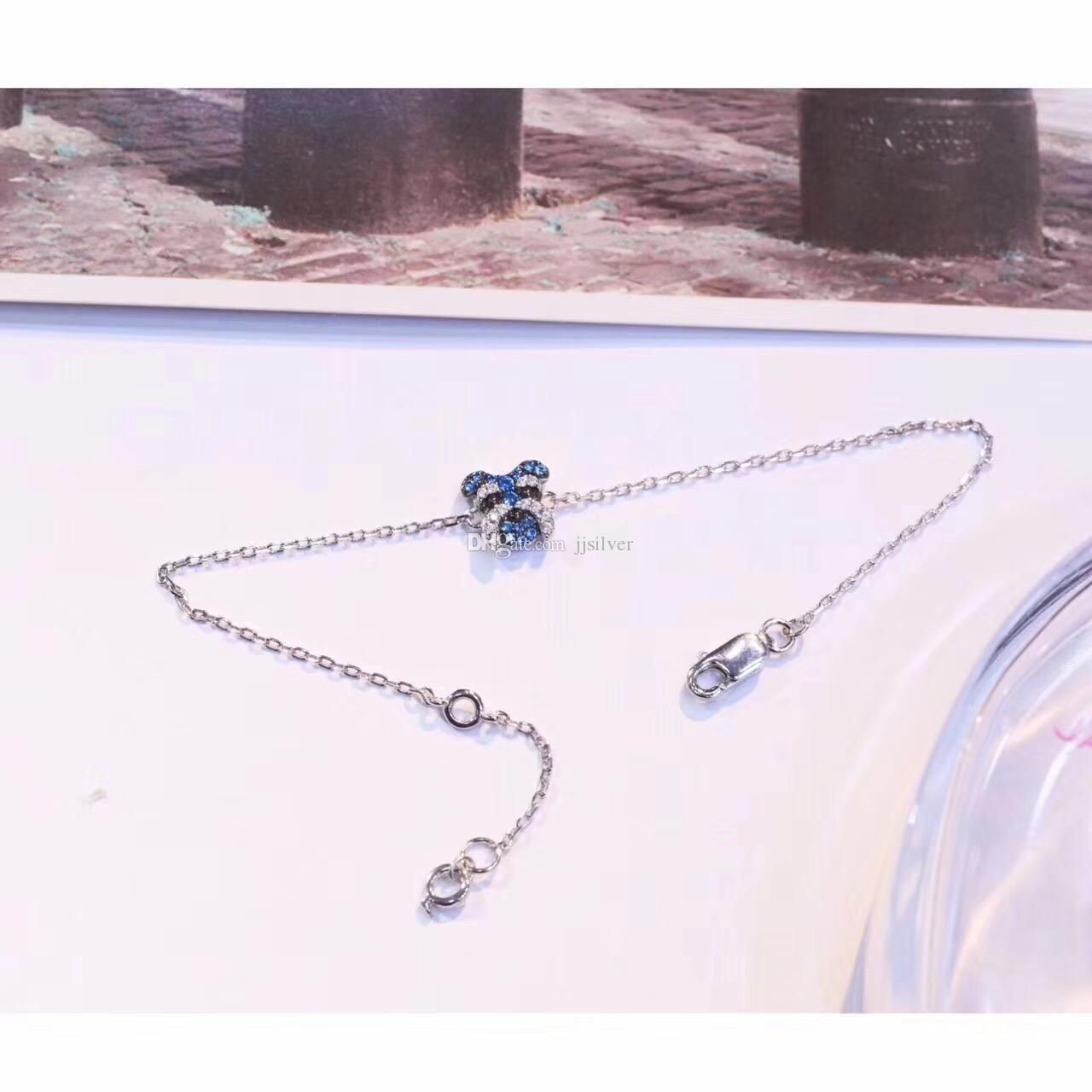 Sterling Silver Schnauzer Dog Terrier Choker Necklace Chain Pendant Ring Bracelet Earring Stud Set Pave Zircon Collar Fashion Jewelry Women