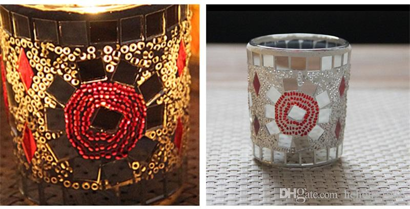 Romantic Mosaic Design Small Glass Cup Candlestick For Home Bar Nights Decoration Unique Retro European Style Candle Holder 7zb Z