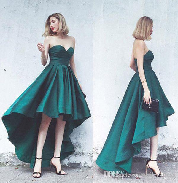 8c11b9aa48b67 Green High Low Prom Dresses Ball Gown Sweetheart Satin Formal Gowns Zipper  Up Evening Party Dresses Custom Made SP395 Prom Dressed Prom Dresses For  Cheap ...