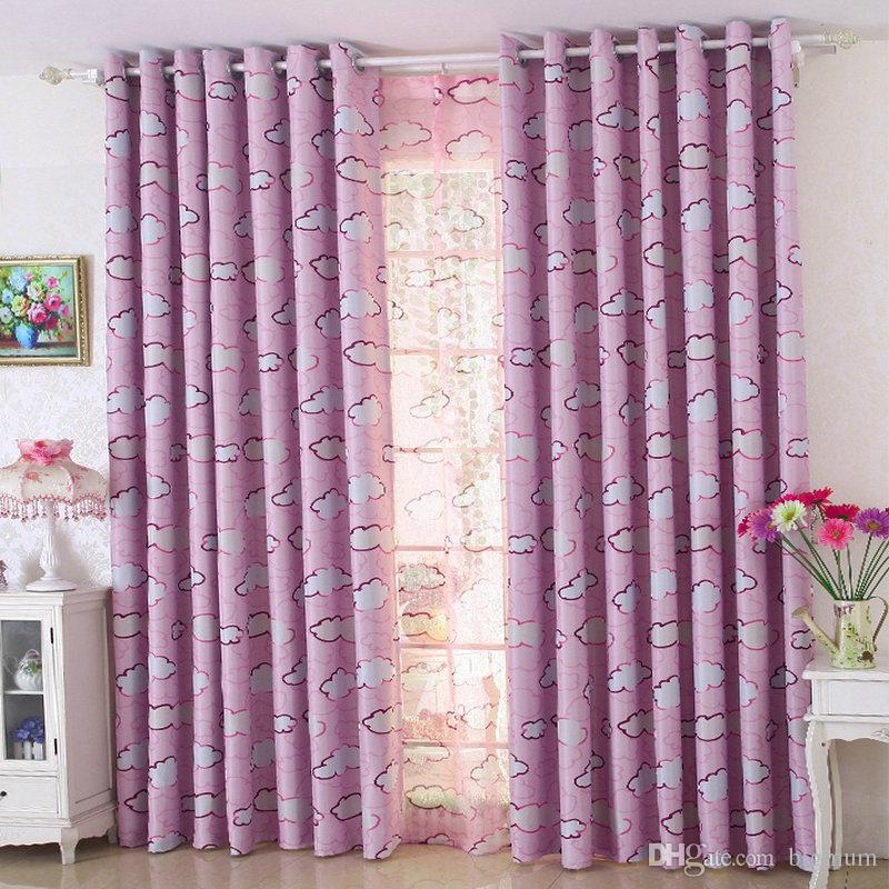 2019 Lovely Cartoon Blackout Curtains For Kids/Children Bedroom White  Clouds Pattern Curtain Tulle Window Drapes Pink/Blue Home Decor From  Bigmum, ...