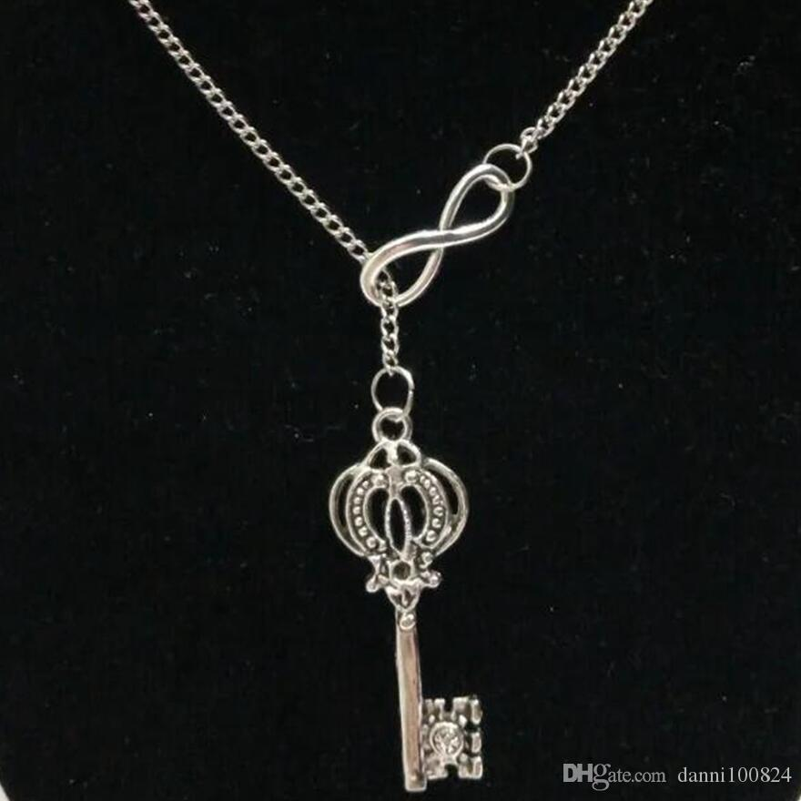 lucky 8Fitness Dumbbells / Estrella de mar / Treasure Key / Moon Vintage suéter cadena de plata charmbracelet DIY Women jewelry Accessories A47