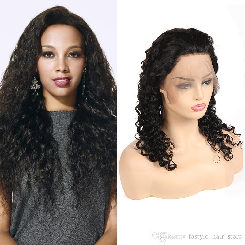 Raw Indian Deep Wave Human Hair Wigs 8A Lace Front Wigs For Black Women 100%  Unprocessed Brazilian Malaysian Peruvian Swiss Lace Front Wigs Real Human  Hair ... ae0033f2e