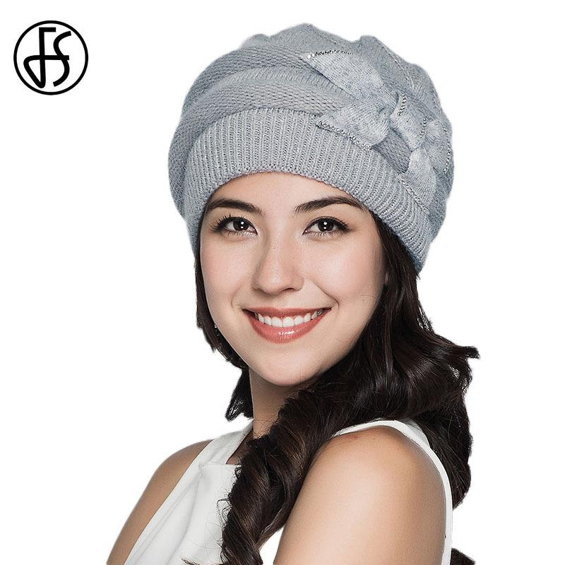 700b9057644 FS Winter Caps Knitted Wool Hat For Women Girls Elegant Rabbit Warm Beanies  Hats Skullies Female Cap Pink Gray Red Caps D18110102 Crochet Beanie  Pattern ...