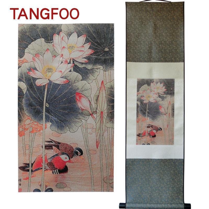 2019 Home Decor Silk Scroll Painting Lotus Flower Love Mandarin Duck