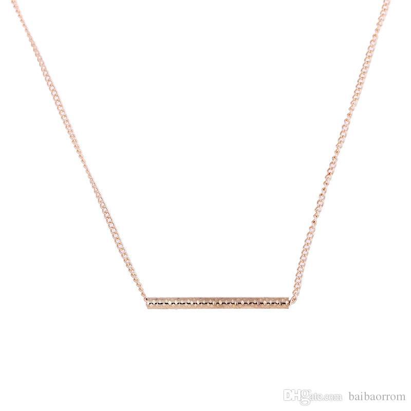 Best-seller NO Dogeared LOGO Nouvel Or-Couleur Balance Bois Barre Droite Alliage Clavicule serpent Pendentif Collier Court pour les Femmes