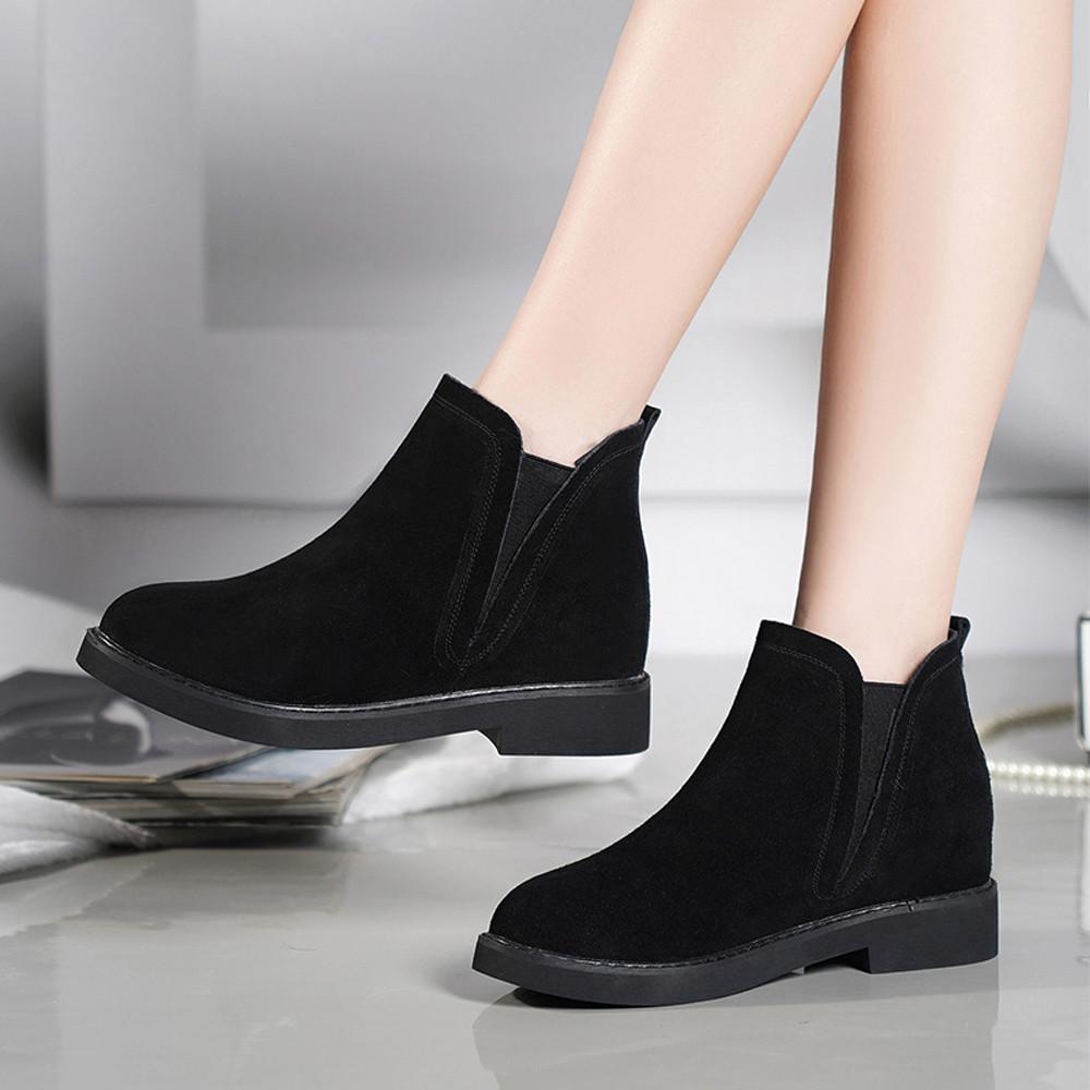 Compre Las Mujeres De Tacón Cuadrado Martain Boot Suede Slip On Keep Warm  Warms Zapatos De Punta Redonda Botas Mujer Tacon Negro Bota Feminino  Inverno   9 A ... ec7f30dbd760
