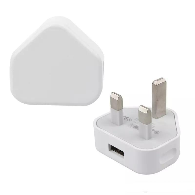 White black 3 Pin Mains Charger Adapter Plug 5V 1A UK USB Wall Adapter For Iphone 6 6S 7Plus 7 8 X Samsung S6 S7 Tablet Pc Universal free