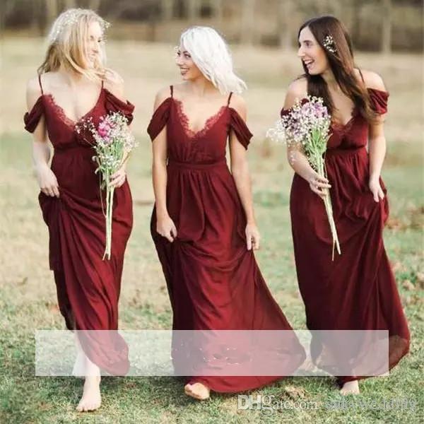 963a129278 Burgundy Chiffon Bridesmaid Dresses Spaghetti Straps A Line Lace Wedding  Party Dresses Long Reception Party Gowns Wedding Formal Wear Orange  Bridesmaids ...
