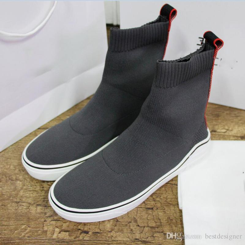 3dd60563d2 Designer Fashion Luxury 2018 Brand Men Shoes Original High Top Socks Shoes  Best Quality Women Sneakers Black Grey Mesh Cloth Casual Shoes Prom Shoes  Sperry ...