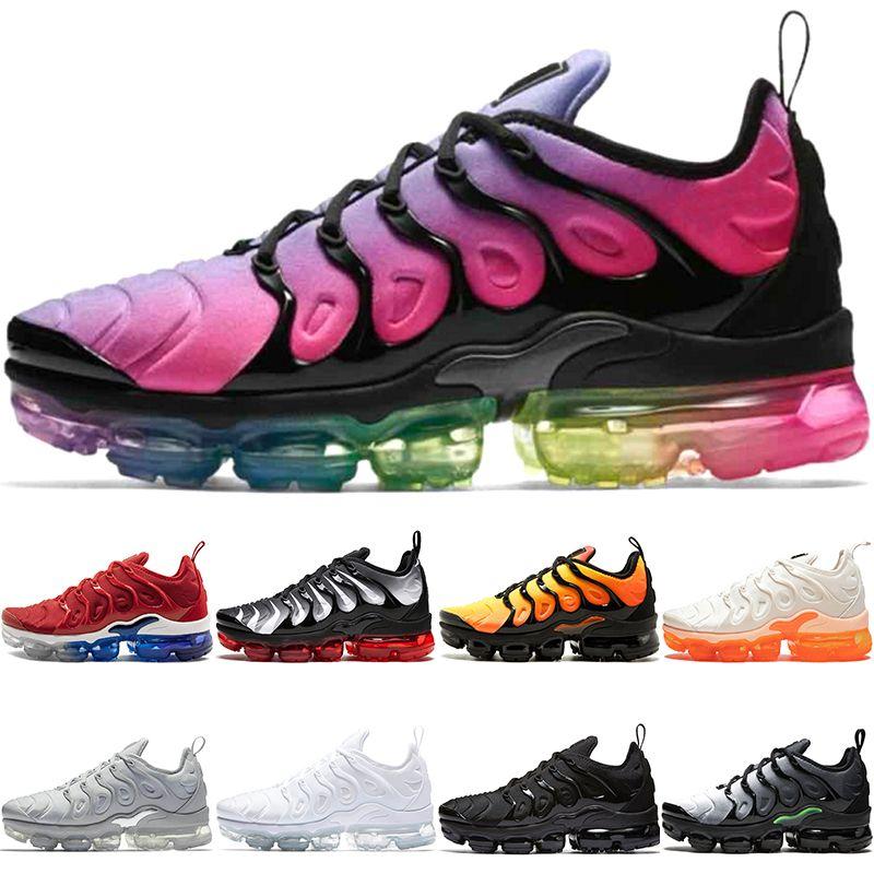 sports shoes e3523 ee6d3 Acheter Nike Air Vapormax TN PLUS TN PLUS Pas Cher Hommes Femmes Chaussures  De Course BE TRUE Jaune Triple Noir Blanc Violet Hommes Designer Trainer  Sneaker ...