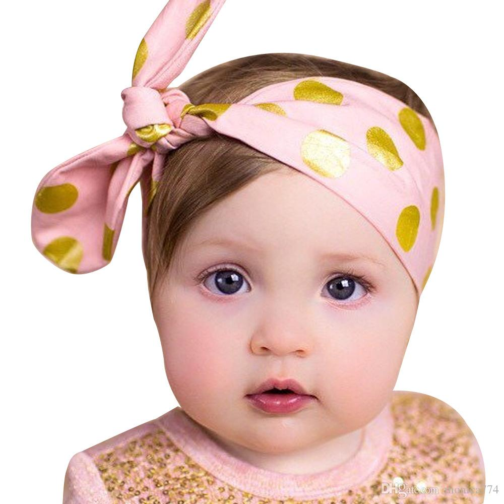 HOT SALE!6colors 62*5.5CM Cute Baby Kids DOT DOT DIY Bunny Ear GOLD STAMPING Hair bands Satin Bowknot Headbands Rabbit Ear Headwear BE12