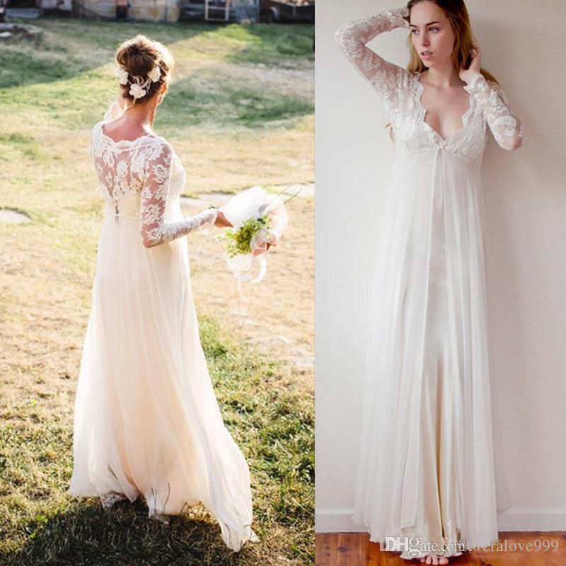 0e984cd25b A Line Boho Wedding Dresses Long Sleeves V Neck Lace Top Bohemia Bridal  Gowns Chiffon Plus Size Wedding Dresses