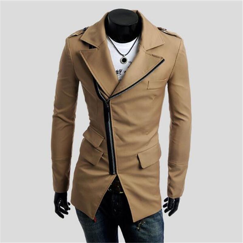 2018 Nuovo arrivo Primavera Autunno Slim lungo Trench Coat Casual Zipper Gothic Jacket Mens Suit Cappotto Cappotti nero Cappotto