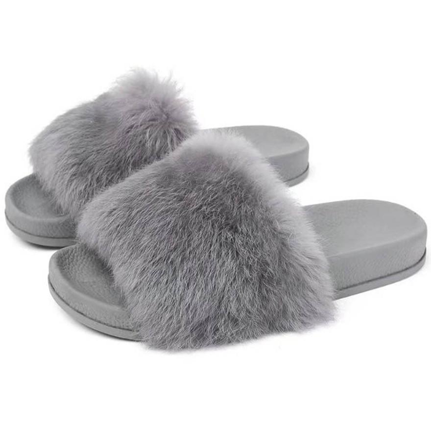 7a493ea51 Womens Flat Non Slip Soft Fluffy Faux Fur Flat Slipper Flip Flop Sandal  High Quality Flip Flops Multifunctional Slippers SlidesT Italian Shoes Mid  Calf ...