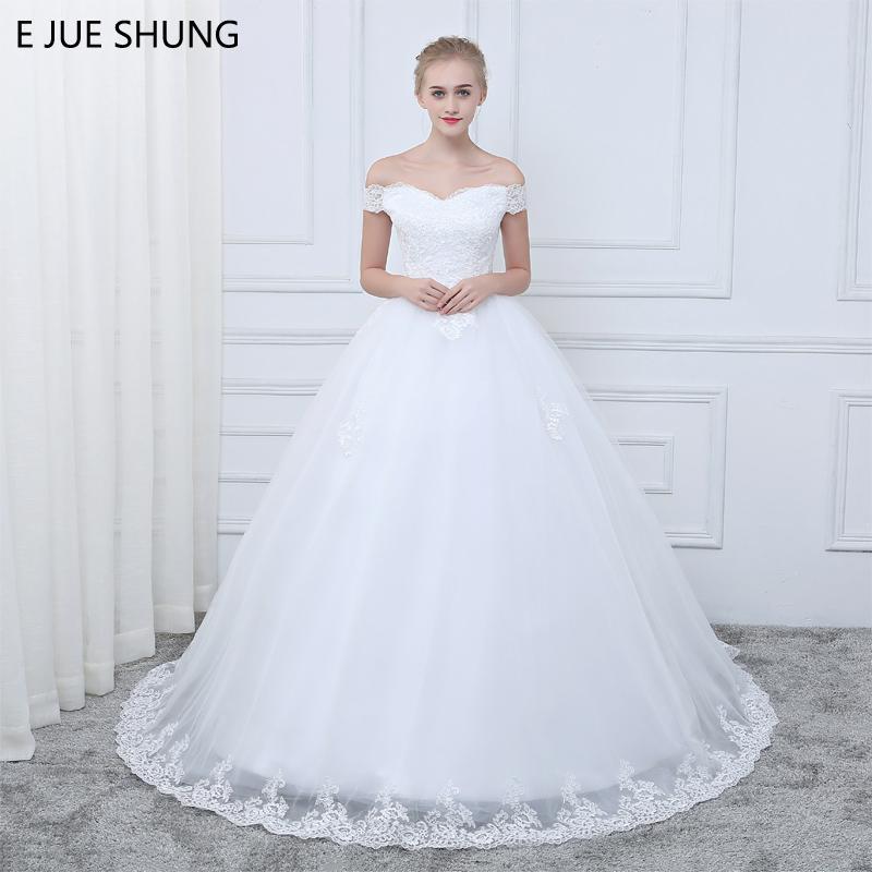 E Jue Shung White Vintage Lace Appliques Cheap Wedding Dresses Off ...