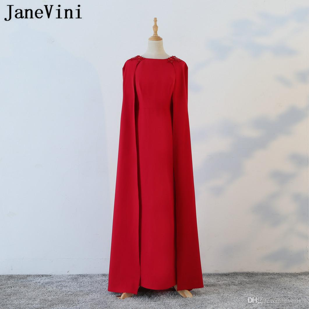 JaneVini Mermaid Long Evening Dresses With Cape Arabic Lace Beaded Shoulder Red Women Formal Party Gowns Floor Length Robe Dubai