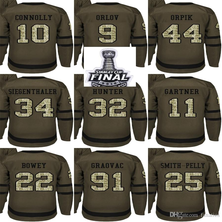 2018 Stanley Cup Champions Men Washington Capitals Green Salute to Service  Graovac Connolly Orpik Bowey Hunter Gartner Orlov Hockey Jerseys 2018  Stanley Cup ... fc4b63ed0fcc