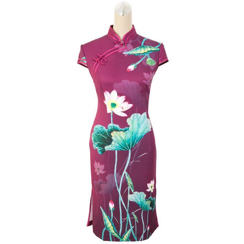 3bbf5f4851a87 Acheter Satin D été À Manches Courtes Qipao Chinois Traditionnel Imprimer  Fleur Cheongsam Sexy Mandarin Col Bureau Robe D entreprise M 3XL De  49.62  Du ...