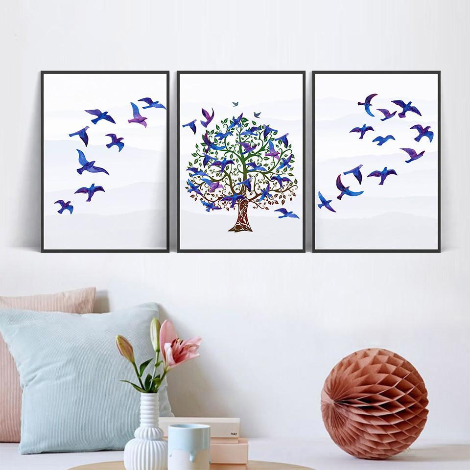 Satın Al Iskandinav Tarzı Tuval Duvar Sanatı Boyama Ağacı Mor Kuş