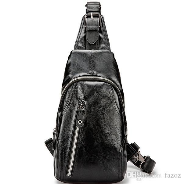 aa9c4d40899d Men Black Leather Shoulder Crossbody Bag Casual Travel Hiking Sling Pack  Cool Stylish Chest Bag Daily Use Soft Anti Theft Backpack Leather Backpacks  ...