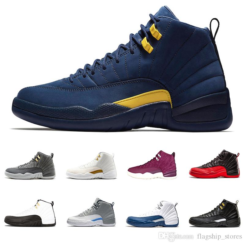 best authentic c3153 958a9 Acquista Michigan 12 12s Scarpe Da Basket Da Uomo College Navy Flu Gioco  Vachetta Tan Milano Sunrise The Master Palestra Taxi Rosso Playoff Francese  Blu ...