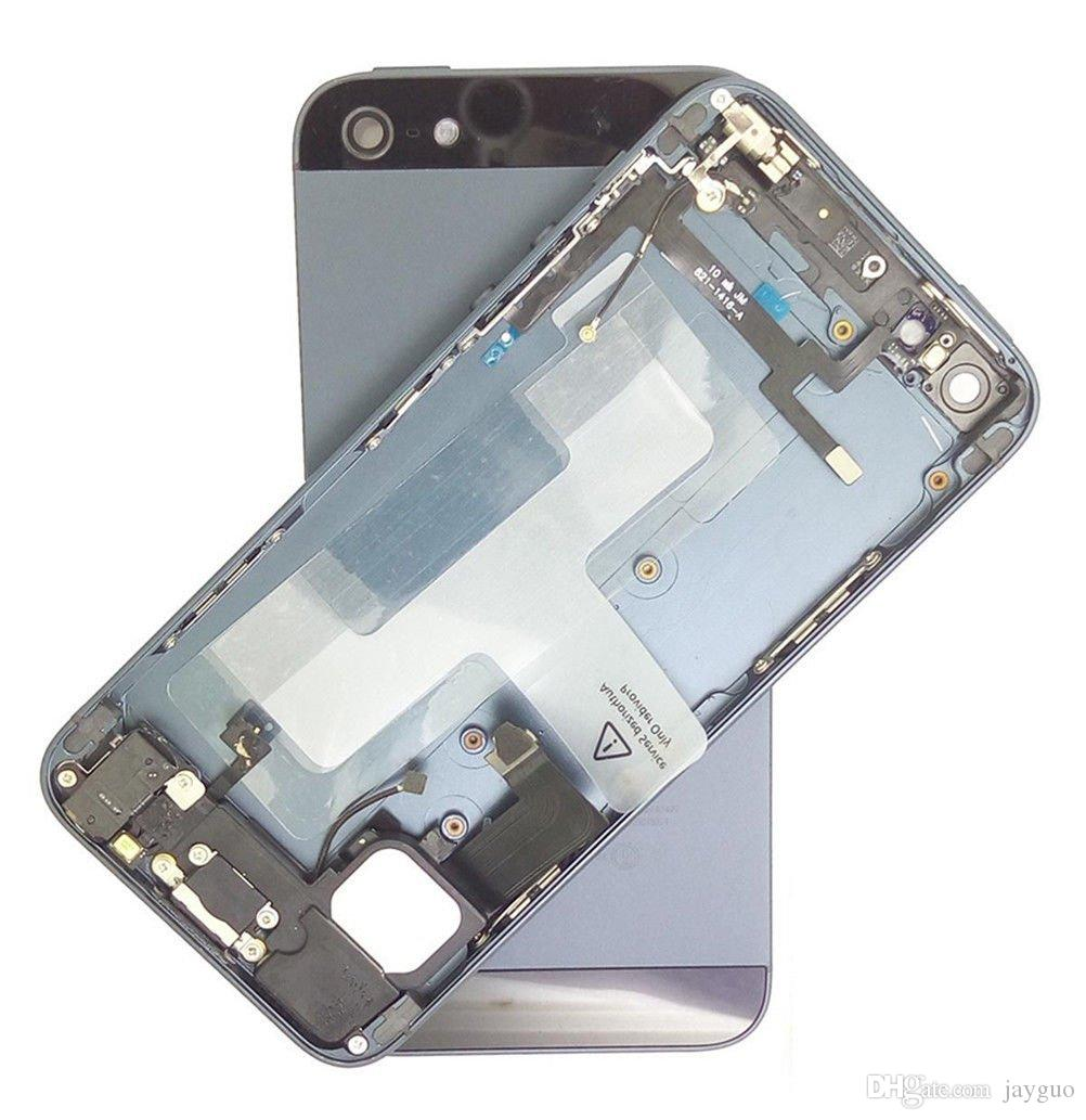 NEW Full Housing for iPhone 5 5S Middle Frame Bezel Chassis Back Housing Battery Door Rear Cover Body with Flex Cable Assembly