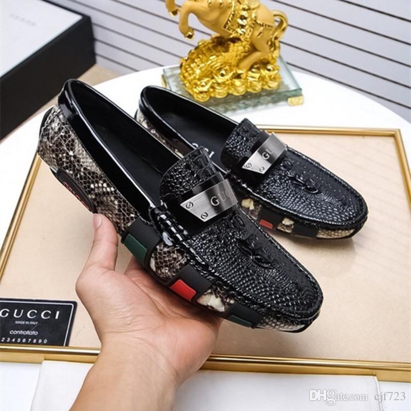 cf5df9b2f5f9ac Acheter Mode De Luxe Mens Mocassins Chaussures En Cuir Robe De Mariage  Occasionnel Chaussures De Marche Bureau Travail Fabriqué En Italie  Chaussures Marques ...