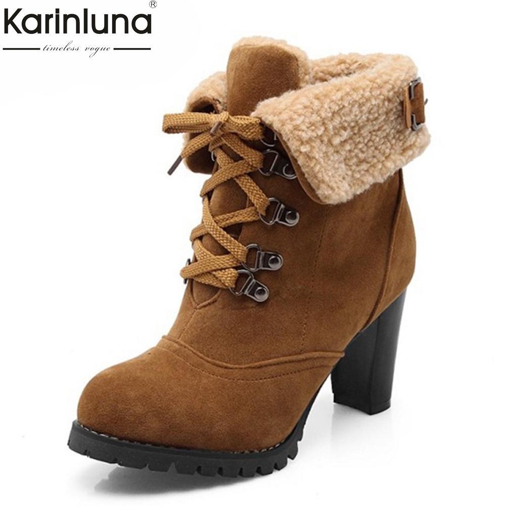 online store c86df 8c2b4 KarinLuna 2018 6 Farben groß Größen 32-43 High Heels Fashion Damenschuhe  Damen Ankle Boots Damen Warm Pelz Schnee Stiefel Damen Schuh