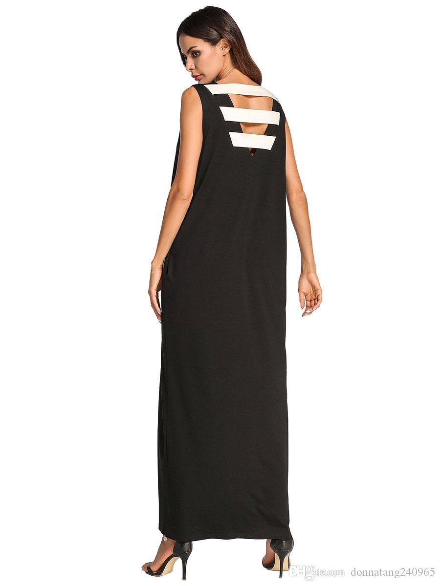 d1d1a09896f6 Summer Women Maxi Long Dress V Back Strap Casual Loose Sleeveless Vintage  Dress Vestidos Plus Size 4XL V Back Dress Maxi Long Dress Summer Women Dress  ...