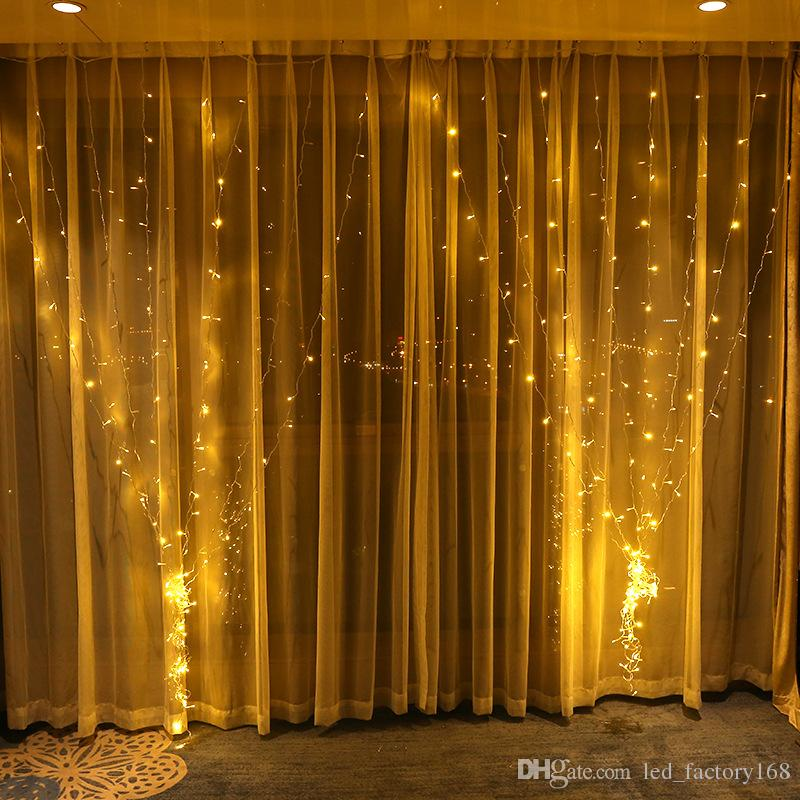 Großhandel Vorhang Lichter Weihnachtsbeleuchtung 3 * 3M 300LED Fenster  String Licht Für Hochzeit Hausgarten Schlafzimmer Outdoor Indoor Wand  Dekorationen ...