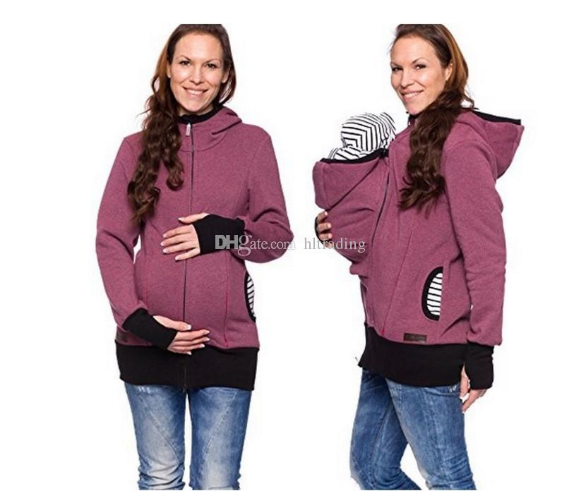 Femmes Automne Hiver Carrier Baby Sweat à capuche Zip Up maternité Kangourou Sweat à capuche Pull 2 ​​en 1 Outerwear Tops 10 couleurs C3675
