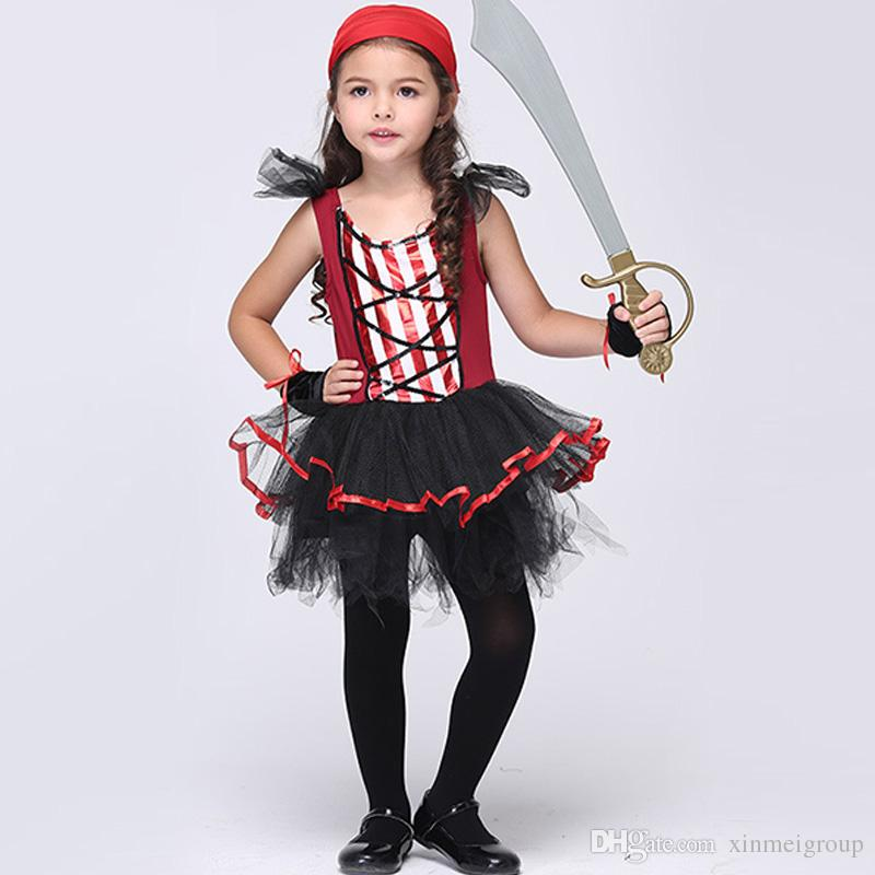 419d3f2b467fd Kids Red Pirate Halloween Costumes Girls Party Cosplay Costume for Children  Carnival Christmas Captain costume W680103