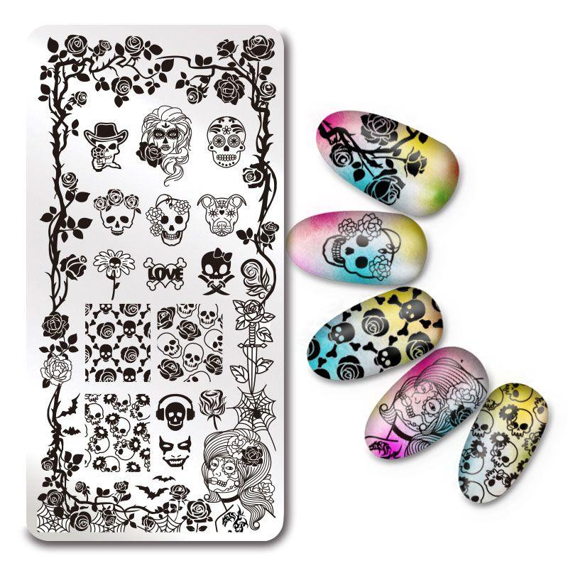 rectangle stamping plate skull rose pattern nail art image plate