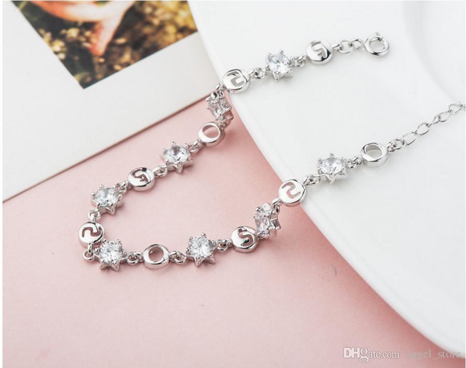 Korea Stylish Pure 925 Sterling Silver Woman Bangles Bracelets Top Grade Crystal Real Cubic Zircon Woman Lady Jewelry