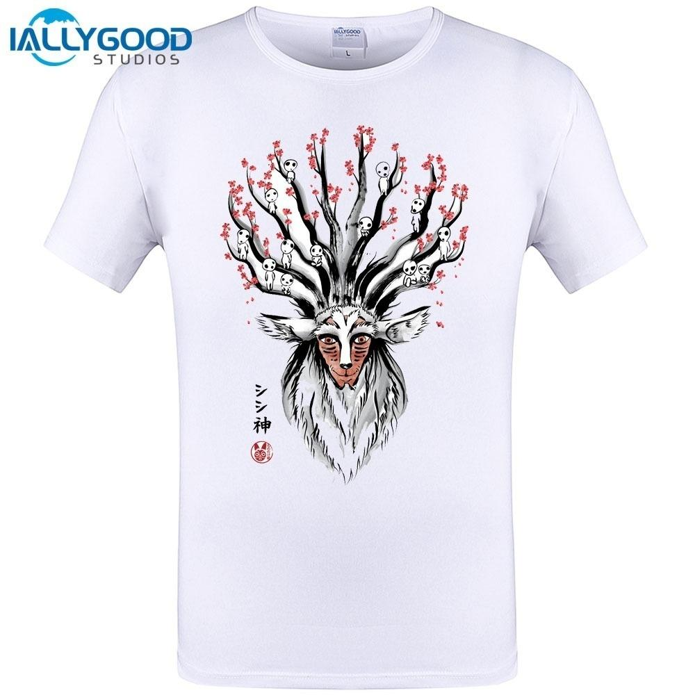 67117644da62 2018 Summer Promotion Tees Homme Clothing The Deer God Sumi E T Shirt Short  Sleeve Cool Casual White Cotton Tops Tee 6XL 5XL 4XL T Shirt Tee Best Funny  T ...