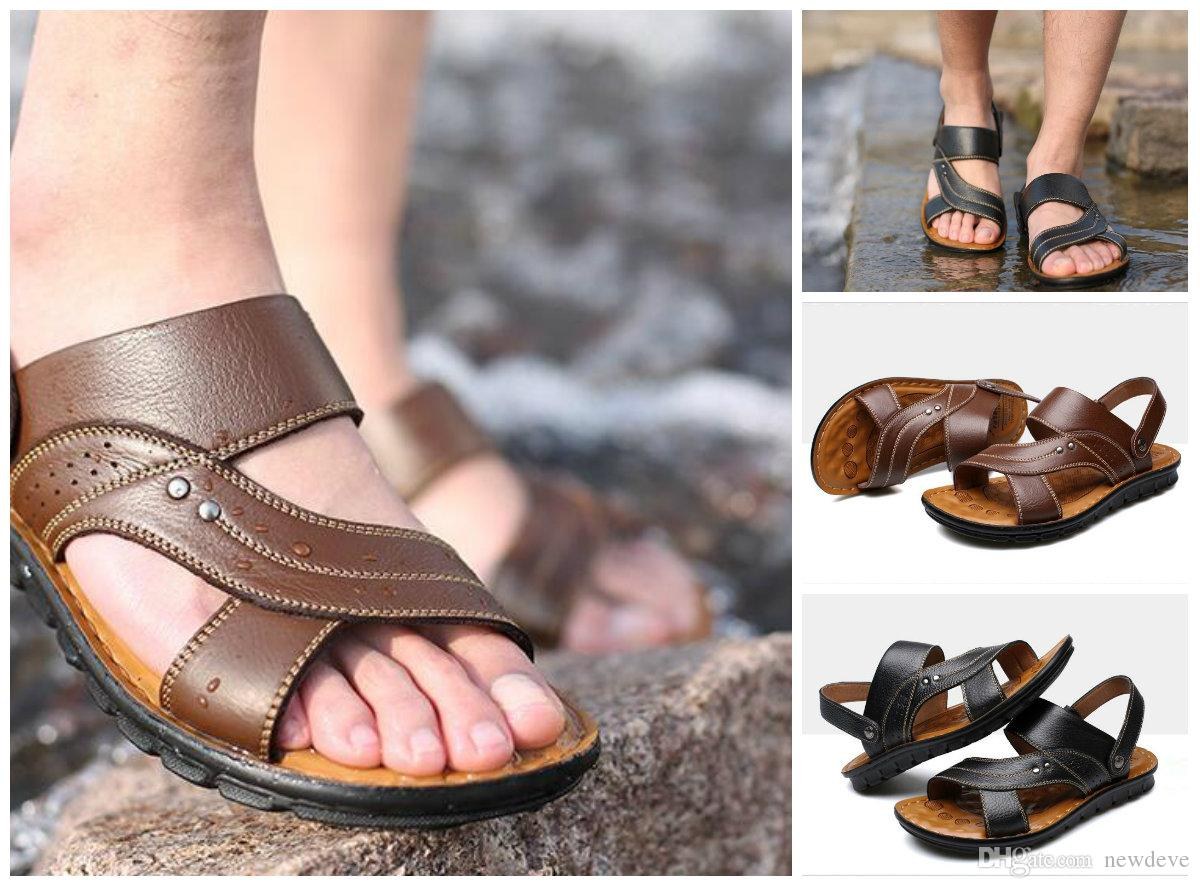 d7f14d3acf61 2018 Summer New Style Sandals Men s Real Leather Beach Shoes Dual Purpose  Cool Comfortable Casual Fashion Slippers Shoes Designer Shoes Sneakers  Online with ...