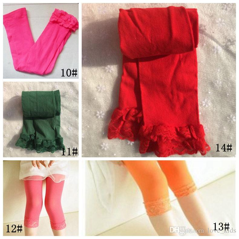 Leggings d'été pour filles stretch enfants leggings en dentelle leggings maigre serré pantalons de couleur bonbon leggings fille 14 couleurs livraison gratuite