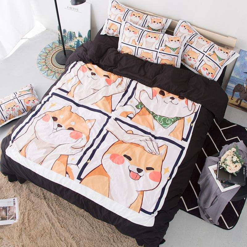 Cute Shiba Inu Soft Bedding Set Pets Dog Queen Duvet Cover Sets Adults/Kids Twin King cartoon new Luxury fashion 3D Bedclothes